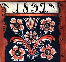 The front of a small chest. Probably painted by Lars Templates, repainted by Knut K Hovden, in Gammel Rosemaling I Rogaland.