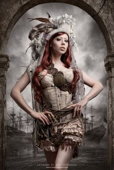 Steampunk fashion meshed with pirate wench.