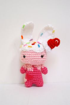 Crochet Ice Cream Bunny Amigurumi Toy Made by MillieCrochetHouse, $25.00