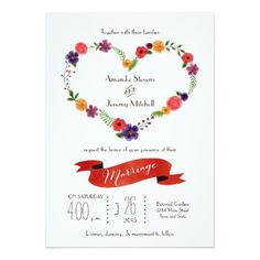 Elegant Watercolor Floral Heart Wreath Wedding Announcements, Spring wedding, engagement party, wedding shower, reception or anniversary Whimsical Wedding Invitations, Heart Wedding Invitations, Wedding Invitation Design, Custom Invitations, Invites, Invitation Paper, Watercolor Wedding Invitations, Floral Invitation, Wedding Announcements
