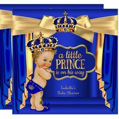 Royal Blue Prince Baby Shower Gold Crown Blonde Invitation | Zazzle.com Royal Baby Shower Theme, Royal Theme, Royal Baby Showers, Baby Boy Shower, Shower Party, Baby Shower Parties, Blue And Gold Curtains, Custom Invitations, Baby Shower Invitations