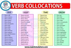 Verb Collocations - Give, Keep, Time, Grow - English Study Here
