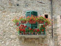 Balcon con geranios