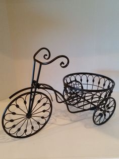 Tricycle Wrought Iron Plant Stand for Garden, Home and Patio