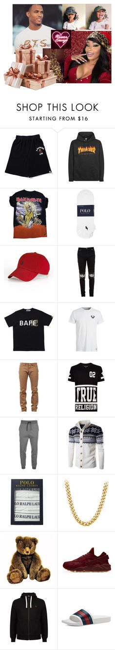 """Merry Christmas from the both of us 🎁🎄"" by westbrooks-anon ❤ liked on Polyvore featuring A BATHING APE, Polo Ralph Lauren, Ralph Lauren, Hood by Air, VFiles, Naked & Famous, True Religion, HUGO, Gucci and LE3NO"