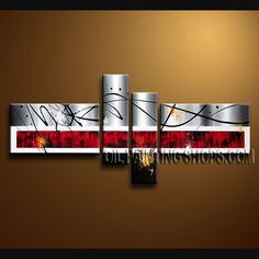 Huge Modern Abstract Painting Hand-Painted Art Paintings For Living Room Abstract. This 4 panels canvas wall art is hand painted by A.Qiang, instock - $145. To see more, visit OilPaintingShops.com