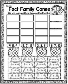 Printables Fact Family Worksheets 3rd Grade fact families facts and snowman on pinterest family cones cut paste