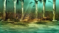 an imaginary underwater scenery with sunken ruins