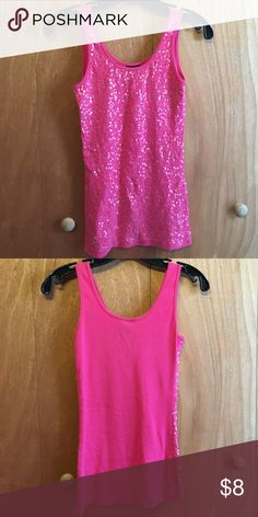 Pink sparkly tank top Pink tank top with sequins in the front. Can be worn as an under short or by itself Rue 21 Tops Tank Tops