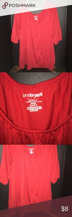 Lane Bryant - Plus Size 22/24W Relaxed fit top Lane Bryant - Plus Size 22/24W Relaxed fit red top. 3/4 sleeve. Tried on, but never worn out of the house. Bundle and save! 🤑 Lane Bryant Tops Blouses