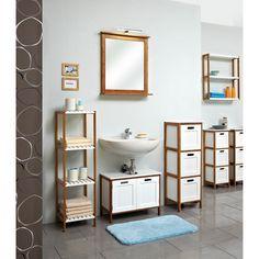 Home Stuff ♥♥: Bathroom Regal Jakob I - Bambus teilmassiv - Bambus / Matt Weiß - 114 cm