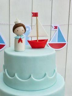 Peaceofcake ♥ Sweet Design: cupcakes Pretty Cakes, Cute Cakes, Sweet Cakes, Baby Cakes, Fondant Cakes, Cupcake Cakes, Sailor Cake, Sailor Birthday, Boat Cake