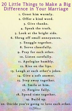Best Love Quotes : FREE Printable: 20 Little Things to Make a Big Difference in your Marriage - Clu. - Quotes Sayings Godly Marriage, Marriage Relationship, Marriage And Family, Marriage Tips, Strong Marriage, Relationship Questions, Relationship Pictures, Bible Verses On Marriage, Christian Marriage Advice