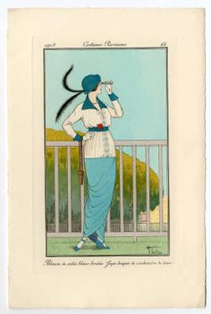 Women 1900-1914, Plate 151. Fashion plates, 1700-1955. The Costume Institute Fashion Plates. The Metropolitan Museum of Art, New York. Gift of Woodman Thompson (b17509853) | A colorful example of Parisian fashion in 1913. #fashion
