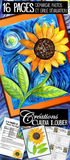 """Ce projet nous fait découvrir 2 oeuvres de Vincent Van Gogh: """"La nuit étoilée"""" et """"Les tournesols"""". En s'inspirant de ces deux tableaux, nous créerons une oeuvre en travaillant à la manière des impressionnistes. Les notions de mélanges de couleurs, de lignes courbes, de couleurs froides et chaudes seront abordées. Vous aurez besoin de gouache liquide, de carton blanc et de crayon de cire. Faites arriver le printemps avec ce projet ensoleillé. Démarche, photos et grille d'évaluation incluses."""