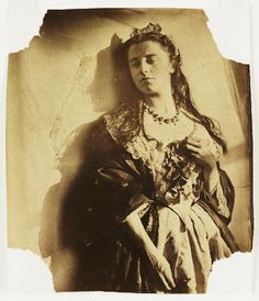 Woman Against a Sunlit Wall  -  A photograph that is possibly a self-portrait of Clementina, Lady Hawarden, taken in about 1862.