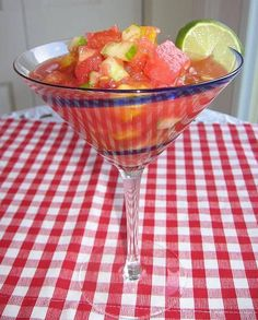 Watermelon Gazpacho    •approx 3 cups of watermelon, chopped  •1 cucumber, diced  •1 red or yellow bell pepper, diced  •1 small onion, chopped  •2 tbsp lemon juice  •1 tbsp olive oil  •1 jalapeno (or to taste)  •2 tbsp fresh chopped parsley or cilantro  •dash salt and pepper to taste