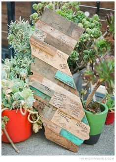 wood guest book, cute idea definitely not in the shape of California lol