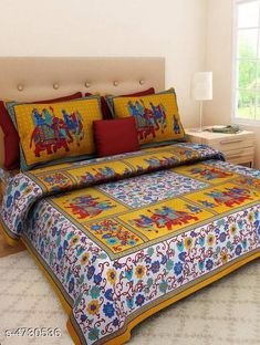 Bedsheets Stellar Cotton Double Bedsheet Fabric: Cotton No. Of Pillow Covers: 2 Thread Count: 140 Multipack: Pack Of 1 Sizes: Queen (Length Size: 100 in Width Size: 90 in Pillow Length Size: 27 in Pillow Width Size: 17 in) Country of Origin: India Sizes Available: Queen   Catalog Rating: ★4 (439)  Catalog Name: Free Mask Trendy Classy Bedsheets CatalogID_687983 C53-SC1101 Code: 473-4730536-558