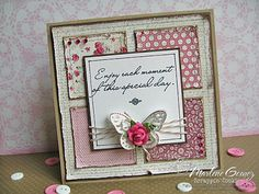 Marlene Gomez: Scrappin Cookie.   Papers:  My Mind's Eye Lost and Found 2 Blush; Bazzill Kraft Cardbase,  Chocolate Cream cs; Carta Bella's Natural White Linen cs.  Memento Tuxedo Black Ink.  Cappuccino Baker's Twine. Prima Mulberry Rose.  My Mind's Eye Lush2.  MME Lush2 Fushia Rhinestones. Martha Stewart Monarch Butterfly Punch. Coarse Crystal Glitter.