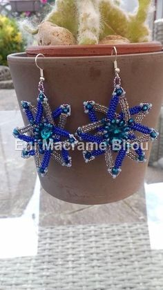 Blue Star Big Earrings,Handmade of Rocailles Beads,Bleu,Transparente,Dream Star Jewelry,Selma Dreams,Blue Beads,Drop Earrings,Gift for her