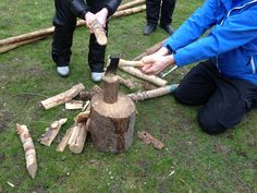 This is how to use an axe when chopping wood... good to know around kids...