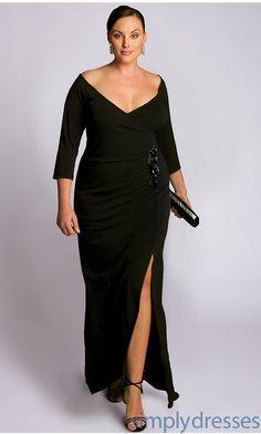 Garbo Black V-Neck Off the Shoulder Dress