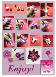 Free fondant tutorial: My take on a quick 2 toned filler flower. You can add stamens or wire depending on what you need it for.