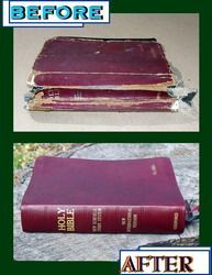 Need to get my Bible rebound! ok moms been asking for this to get done for her odie but goodie bible. ill see if i can do it. Leather Bible Cover, Leather Book Covers, Leather Books, Book Rebinding, Oldest Bible, Book Repair, Bible Stories For Kids, Bookbinding Tutorial, Leather Repair