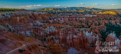 Sunrise and Bryce Canyon National Park with white capped hoodoos surrounded by red rock. Bryce National Park, National Parks, Bryce Canyon, Photography Classes, City Photo, Sunrise, Framed Prints, Rock, Artwork