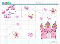 Fichas de grafomotricidad con dibujos de unicornios #worksheets #preescolar #preschool