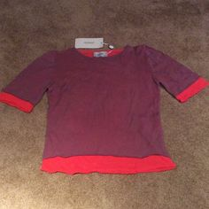 Fendissime - short sleeve top Vintage FENDI sportswear. Top layer is mauve color bottom layer orange/red.  Measurements: bust 15 1/2 inches, length 18 inches.  Comes from a smoke/free home. FENDI Tops
