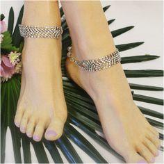 530ea0d2f9be50 VINTAGE ankle bracelet - antique silver