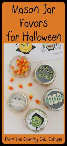 Mason Jar Favors for Halloween -- get four great ideas for Halloween party favors in a mason jar from one great post.  These simple favors only take minute to make.  Also get a FREE printable for mason jar toppers that can be used for these great favors!