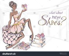 Fashion girl with beauty high heel shoes sitting on sofa in living room. Shoes love shopping, luxury fashion woman, glitter details vector illustration clipart art set