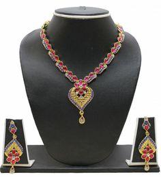 ZPFK235-Zaveri Pearls KUNDAN NECKLACE SET Alloy Jewel Set (Pink, Blue) #ZAVERIPEARLS