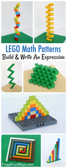 LEGO Math Patterns - Build awesome geometric patterns, and come up with a math expression.  Awesome LEGO STEM challenge.