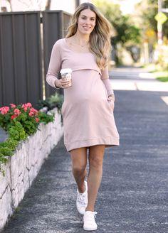 Winter Mama Journey Fleece Pregnancy Dress in Pink by Trimester Maternity Pads, Maternity Nursing Dress, Maternity Dresses, Pregnancy Dress, Pre Pregnancy, Fleece Fabric, Designer Dresses, Journey, Shirt Dress