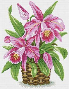 More cattleya orchids Modern Cross Stitch Patterns, Counted Cross Stitch Patterns, Cross Stitch Designs, Cross Stitch Embroidery, Embroidery Patterns, Hardanger Embroidery, Loom Patterns, Small Cross Stitch, Cross Stitch Bird