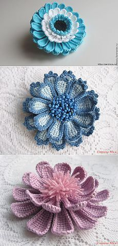 Watch The Video Splendid Crochet a Puff Flower Ideas. Phenomenal Crochet a Puff Flower Ideas. Crochet Puff Flower, Crochet Flower Tutorial, Crochet Leaves, Crochet Motifs, Knitted Flowers, Crochet Flower Patterns, Freeform Crochet, Irish Crochet, Crochet Designs