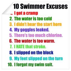 swimming sayings | CafePress > Wall Art > Wall Decals > Swimming Excuses Wall Decal