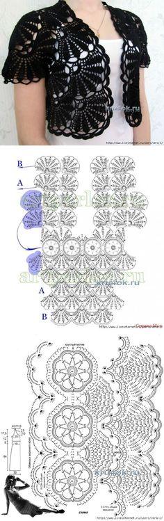 52 Ideas knitting patterns free women shrug crochet boleros for 2019 Débardeurs Au Crochet, Gilet Crochet, Mode Crochet, Crochet Jacket, Crochet Woman, Crochet Cardigan, Irish Crochet, Crochet Shawl, Crochet Stitches