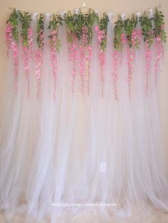 Tulle Backdrop Curtain Photo Booth with Hanging Wisteria Flowers This beautiful, romantic backdrop i Bridal Shower Balloons, Bridal Shower Backdrop, Bridal Shower Decorations, Wedding Decorations, Parties Decorations, Backdrops For Parties, Wedding Backdrops, Birthday Decorations, Tulle Backdrop