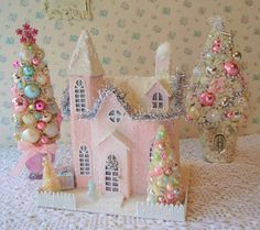 XL PINK PUTZ Lighted House w/ Bottle Brush Trees by IllusiveSwan