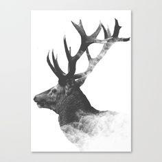 dark deer Canvas Print by boxfox Surreal Artwork, Canvas Prints, Art Prints, Astronaut, Surrealism, Originals, Modern Art, Deer, Moose Art