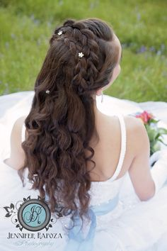 Inspired by Disney's movie Cinderella. Our studio spring creative photo shoot. Senior model Lara models a blue & white ball gown from Sierra Bridal. Jennifer Rapoza Photography, Sonora, CA. Hair and makeup by Jessica Alger. Motherlode Ranch, Sonora, CA braids, Princess style, prom dress