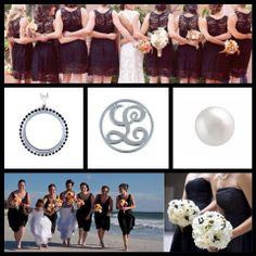 Large locket with black crystals surrounding it. Black Crystals, Bridesmaids, Bridal, Party, Gifts, Presents, Bridesmaid, Brides, Bride