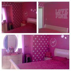 """My sisters room I painted victoria secret """"pink"""" themed"""