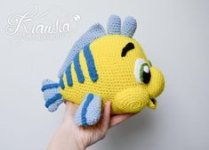 Crochet PATTERN No 1803 Yellow flounder fish by Krawka
