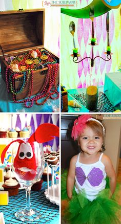 """Little Mermaid theme birthday party """"flip your fins on in! Mermaid Theme Birthday, 5th Birthday Party Ideas, Girl Birthday Themes, Little Mermaid Birthday, Little Mermaid Parties, 3rd Birthday, Birthday Cakes, Mermaid Cupcakes, Baby Shower"""